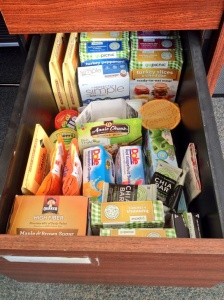 Behold, my office snack drawer.